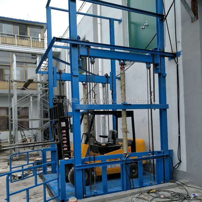 Stationary hydraulic guide rail lift one floor vertical hydraulic lift