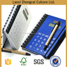 leather pocket notebook folders,notebook calculator pad with pen