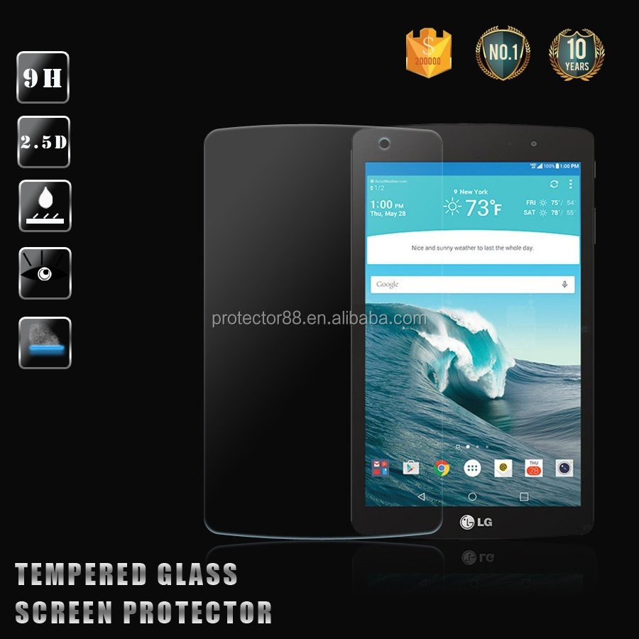 New model !! high transpant 0.33mm 2.5D curved edge anti- shock anti-water tempered glass screen protector for LG G PAD X 8.3