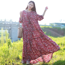 2017 New Fashion Stylish Dress Long Sleeve Beach Dress Small Floral Cotton Maxi Dress