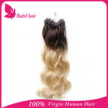 cheap ombre double beads micro ring hair extensions for 100% human hair