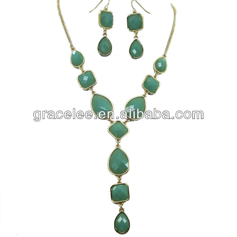 Faceted Acrylic bead with Safe Alloy Fashon Jewelry necklace earing set