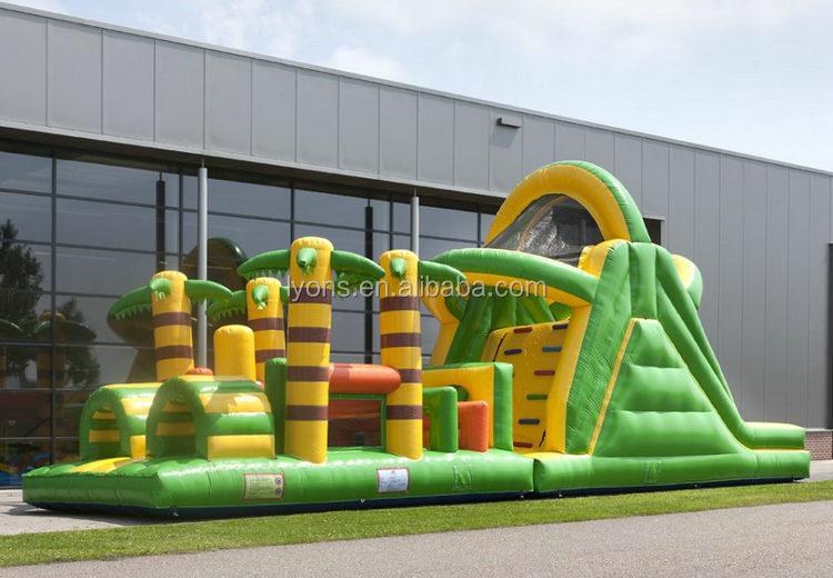 Verde selva inflável curso curso de obstáculo corrida de obstáculos Infláveis bouncer Inflável para a venda