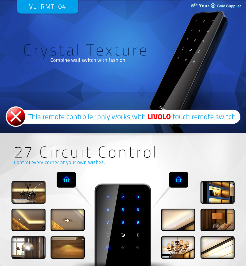 Livolo New Style Touch Wireless RF Remote Controller Wall Light Remote Switch Controller, VL-RMT-04
