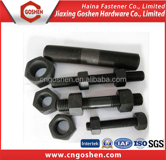 Alloy Steel with Black Oxide Stud Bolts and Nuts with FACTORY PRICE