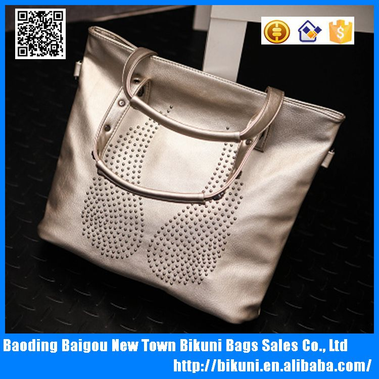 Most popular in European soft big size low MOQ wholesale gold color cheap pu women handbag from China