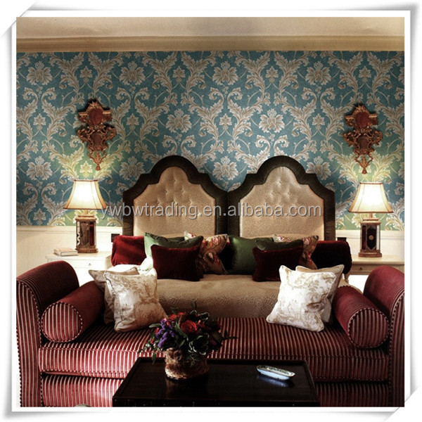 luxury fashion elegant classic hand painted silk wallpaper for hotel