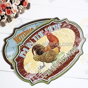 Custom design rooster metal sign,cow emboss aluminum sign,decorative farm hanging sign