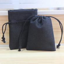 custom black linen fabric pouch with satin lining