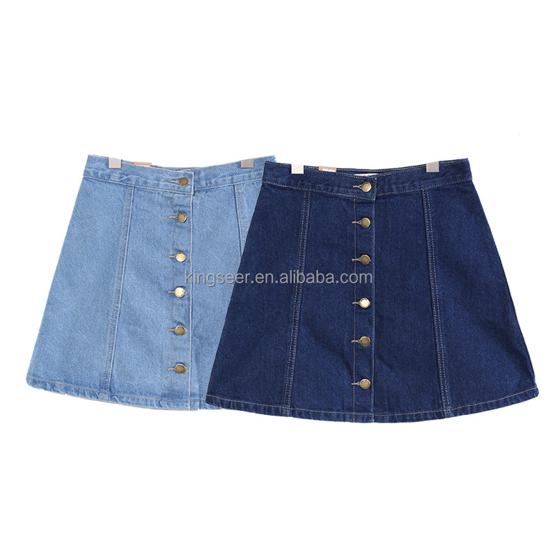 Korean Style Button Through Denim Skirts in Washed blue
