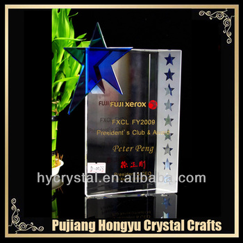 crystal glass book shaped plaques and awards