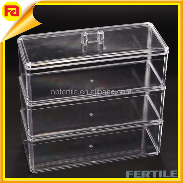 High quality 3 layer Acrylic makeup storage box / Jewelery case with lid