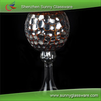 Electroplated Color Spray Hurricane Glass Candleholder with Long Stem