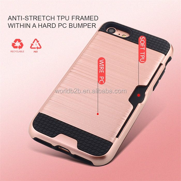 Brushed PC+TPU Shockproof Rugged Card Slot Back Cover Case for iPhone 8