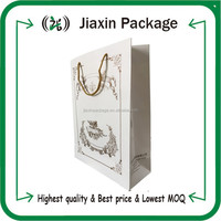 2015 white coated paper bags with handles wholesale for small order