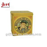 empty tinplate square biscuits container