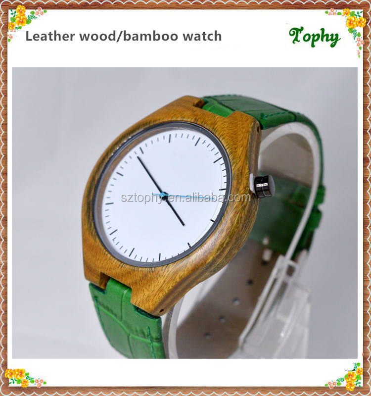 Best Selling 2016 Luxury Genuine Leather Simple Style Lovers Vestidos Wooden Watch for Men Women