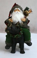 XM-A6049 Christmas decoration santa claus sitting in the black resin bear