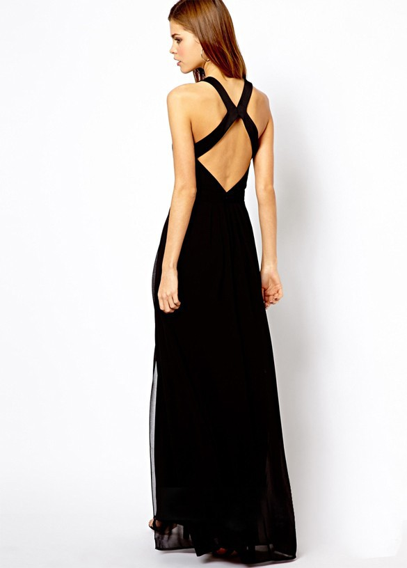 Lady Chiffon Long Maxi Dress Backless Evening party Cocktail Dress SV001627#
