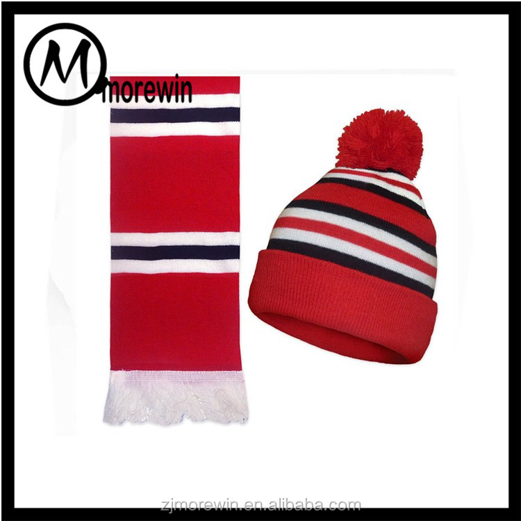 Morewin amazon supplier custom 2017 new design knit scarf hat sets