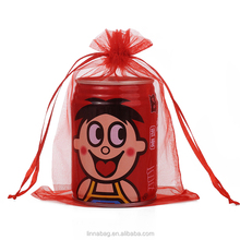 Wholesale YiWu Factory Handmade Personalized 13x18cm Custom Printed Red Color Organza Indian Wedding Gift Bags