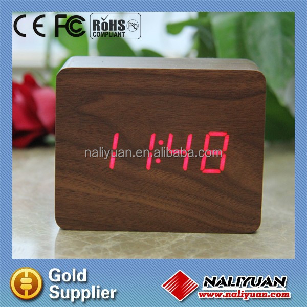 Four sided digital wooden alarm clock