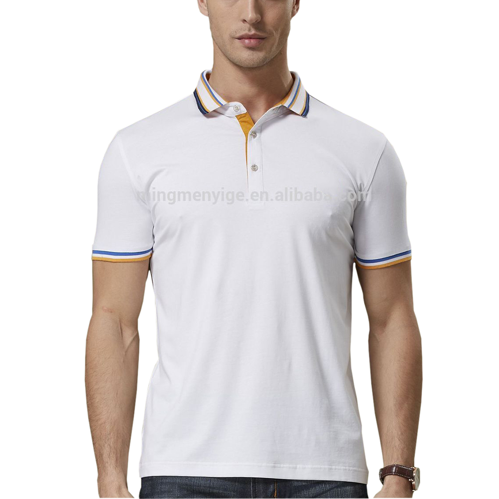Basic Style 100% Pique Cotton Pure Color Blank Mens White Blue Polo Shirts