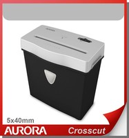 Aurora AS380CQ Plastic Paper Shredder, 3 sheet (A4) cross cut 5x40mm, Light Duty Shredding machine for Home & Office