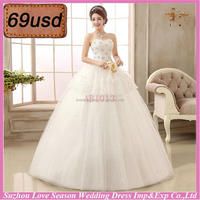 OYSC69-17 70 dollar prompt ship under 100 dollars diamonds beaded bridal dress without train organza high quality wedding dress