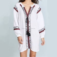 Vintage Clothing Women Loose Dress Bohemian Embroidery Smock Blouse Ladies Spring Summer Clothes STb-0747