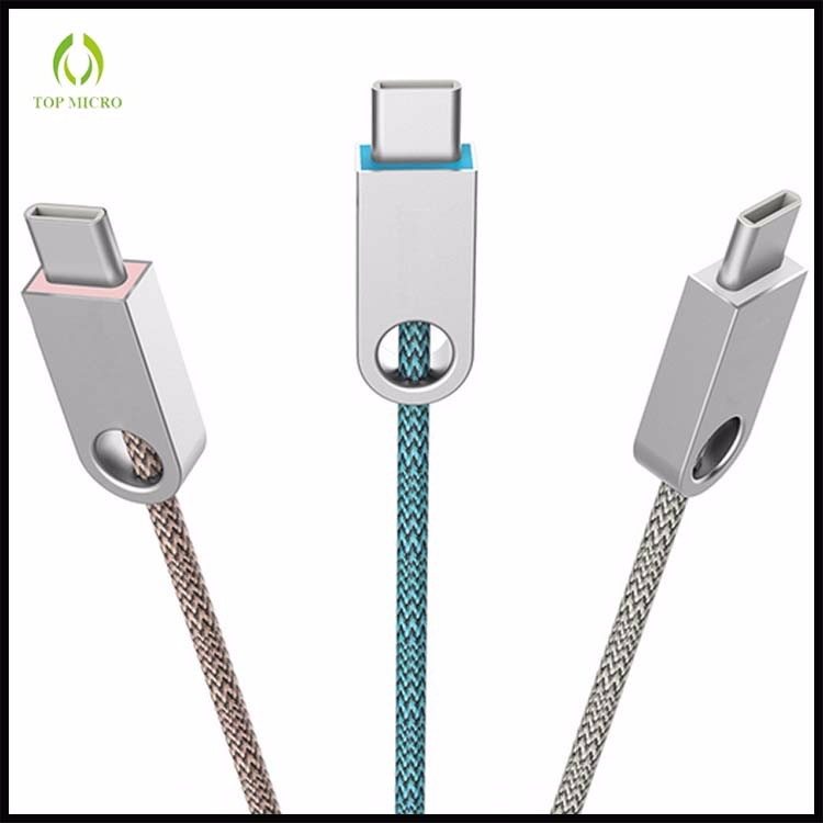 Wholesale OEM Braided Jacket Zinc Alloy Plug Type C /Micro USB Data Line Cable