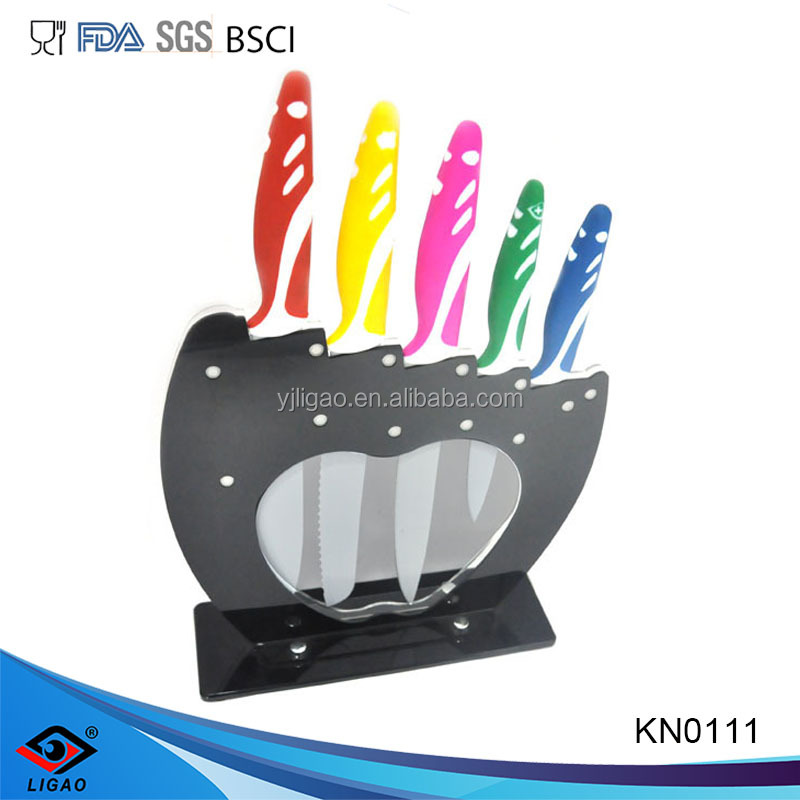 The kitchen set of pakistan stainless steel knives with knife block set