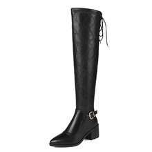 New Style Ladies Black Leather Knee High Horse Riding Boots