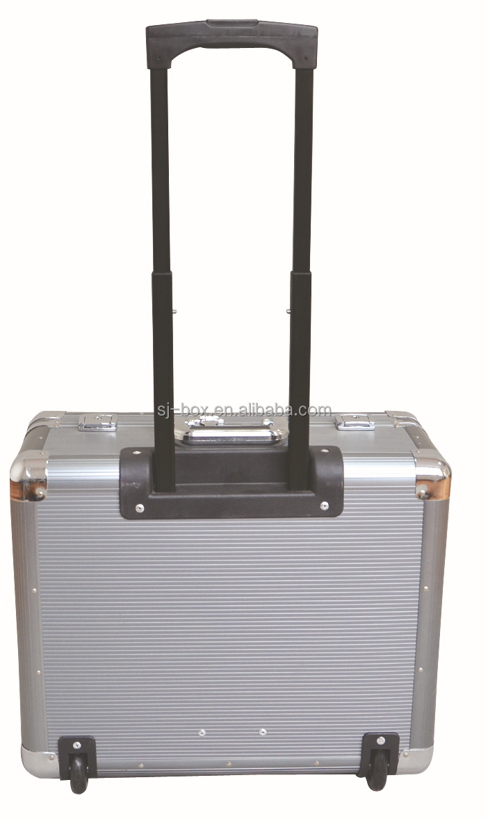 Customized Grey Aluminum Trolley Case with Wheels