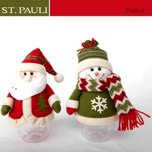 8inch new item lovely snowman and santa Christmas acrylic candy jar