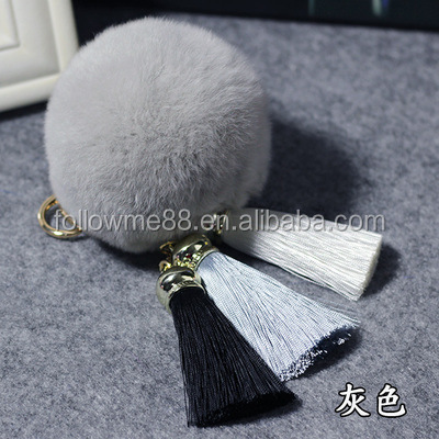 Wholesale Fluffy ball keychain Solid Color Faux Rabbit Fur Pom Pom Handbag Keyring Keychain KC-44a