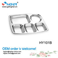 Wholesle high quality cheap 5 compartment stainless steel food plate