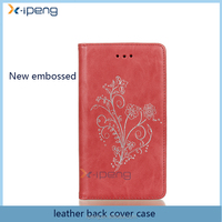 2017 Stand Mobile phones new embossed flower pu leather pouch wallet case flip case cover for Samsung galaxy s6 edge