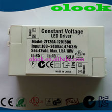 Constant Voltage 12V 1500mA LED driver with CUL UL C-Tick SAA approved
