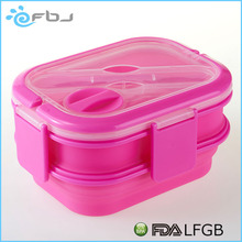 ~~ BPA free bento box silicone lunch box silicone folding collapsible bento