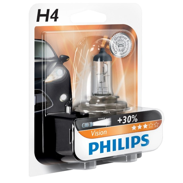 Genuine Philips Vision H4 Halogen Bulb (Single) 12342PRB1 - Also available in H1 & H7