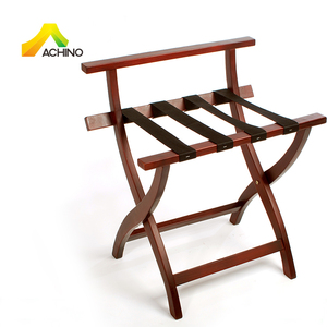 ACHINO Competitive Price Wooden Luggage Stand Space Saving Folding Solid Wood Suitcase Rack Hotel Luggage Rack