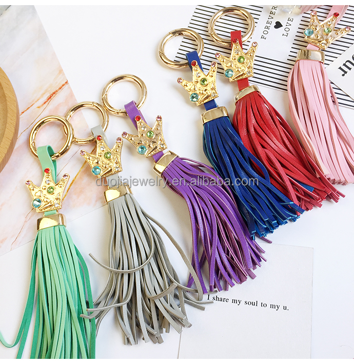 Super quality Creative personality Crown Leather Keychain bags and key decoration