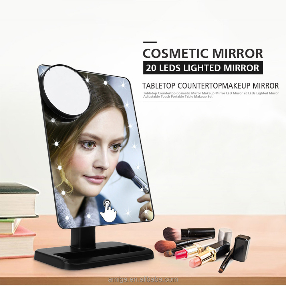 Christmas Return GiftsTouch Screen 20 LED Lighted Makeup Mirror with Removable 10x Magnifying Mirrors