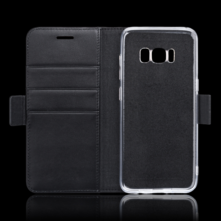 Transparent mobile phone case cover by real leather for Samsung Galaxy S8