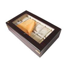 12 Slots Mens Wooden Watch Display Case Glass Top Watch Collection Storage Box