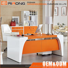 Contemporary design modern custom white wooden colorful leather executive office desk with file cabinet