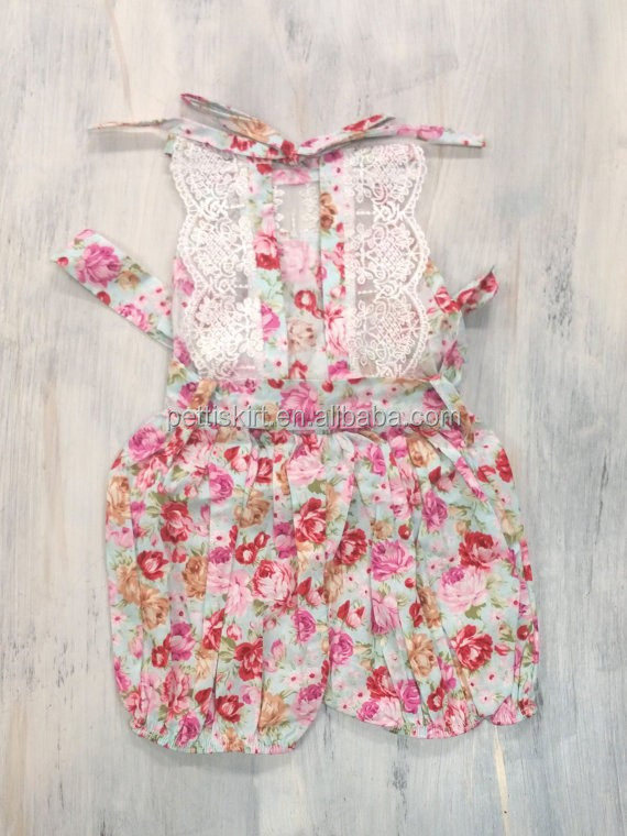Vintage and fashion combie style short baby romper with lace boutique baby clothing