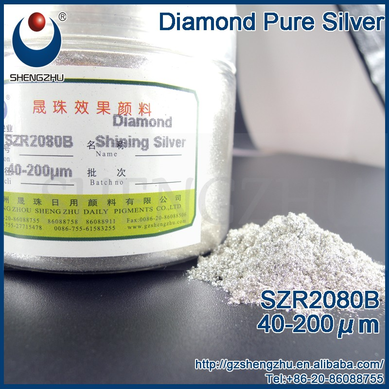Alibaba VIP supplier SZR2080B shimmer mica Diamond Pure Silver glitter powder