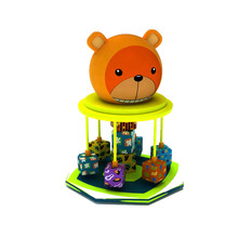 Cartoon bear design indoor electrical rotary swing playground equipment for kids soft theme park